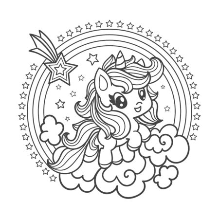 Cute little unicorn. Black and white illustration for coloring. Vector illustration.