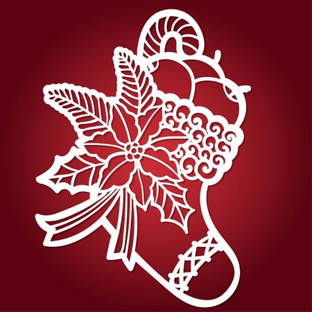 Template for laser cutting.Christmas boots vector silhouette on a red background