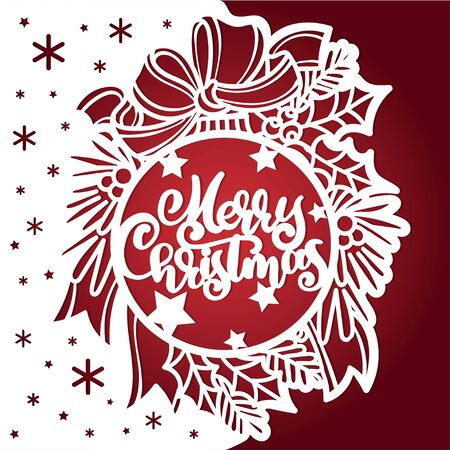 Template for laser cutting. Christmas ball with text merry christmas. Branches ate, bow. Vector