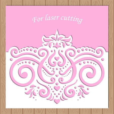 Template for laser cutting. Layout wedding envelope. Vector