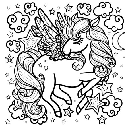 Magical unicorn among the stars. Fantastic animal. Black and white image for coloring, postcards, prints, posters. For children. Vector
