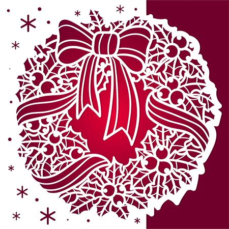 Template for laser cutting. Winter pattern. Christmas wreath. Vector
