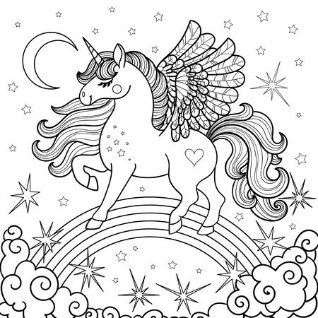 Cute, cartoon unicorn on a rainbow. Black and white. For coloring, prints. posters, cards, tattoos. Vector