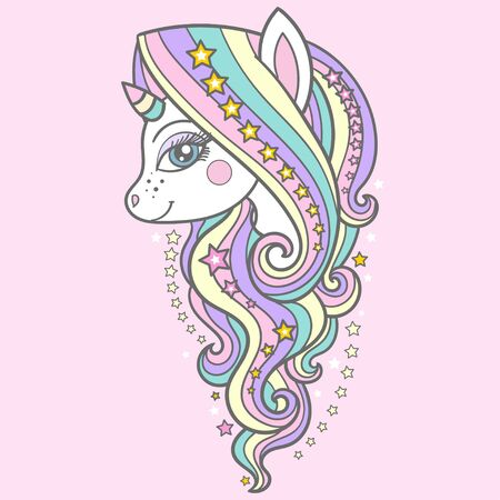 Cute unicorn with a long mane and stars on a pink background. For your design prints, posters, cards and so on. Vector 일러스트