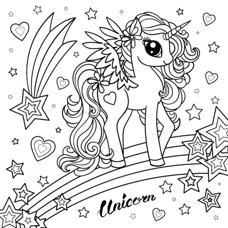 Cute unicorn. You are magical. Fantasy animal. Black-white childrens illustration for coloring. For design posters. prints, postcards. Vector