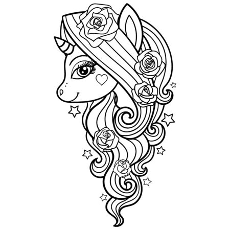 Jednorożec z różami. Czarno-biały obraz rysowane ręcznie. Do projektowania druków plakatów, kolorowanek, tatuaży itp. Vector