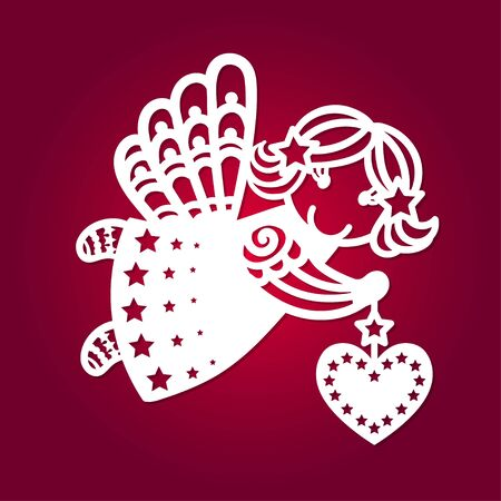 Template for laser cutting. Cute flying angel with a heart. For the design of cards, Christmas toys, scrapbooking, interior elements, etc. Vector Stock Illustratie