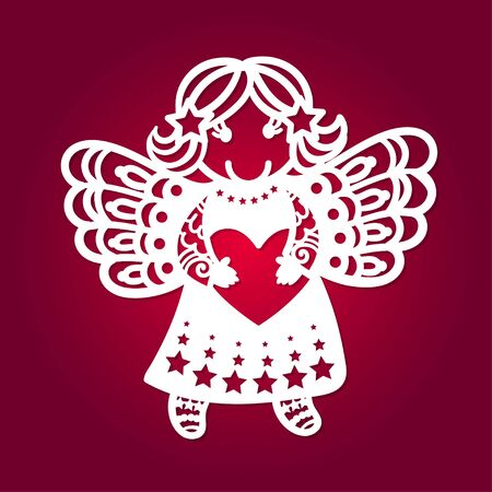 Template for laser cutting. Cute little angel with a heart. For the design of cards, Christmas toys, scrapbooking, interior elements, etc. Vector