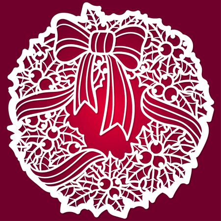 Template for laser cutting. Winter pattern. Christmas wreath. For the design of cards, invitations, interior elements, menus. For cutting from any materials. Vector Stock Illustratie