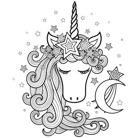Unicorno in una corona di stelle con una lunga criniera e la luna. Animale di fantasia. Illustrazione per bambini. Per la progettazione di stampe, poster, libri da colorare, tatuaggi, ecc. Vector