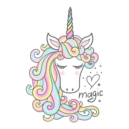 Cartoon rainbow unicorn. Magic. Vector illustration