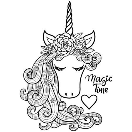 Unicorn. Magical animal. Vector artwork. Black and white. Coloring book pages for adults and kids. Love bohemia concept for wedding invitation card, ticket, branding, boutique logo, label.  イラスト・ベクター素材