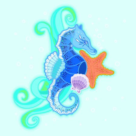Composition with wave, seahorse, starfish and shell. Marine theme. For the design of prints, posters, stickers, postcards, etc. Vector illustration Illustration