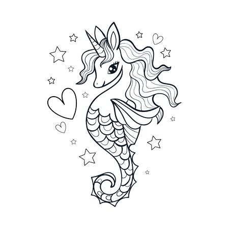 Seahorse, unicorn vector black and white illustration. Doodle style. For the design of prints, posters, coloring books, stickers, cards and so on. Vector