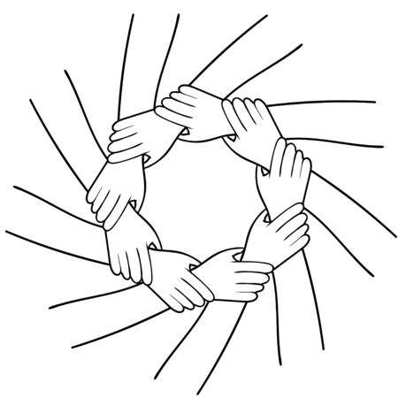 Ring of hands. Team sign. Black and white image. Vector Vector Illustratie