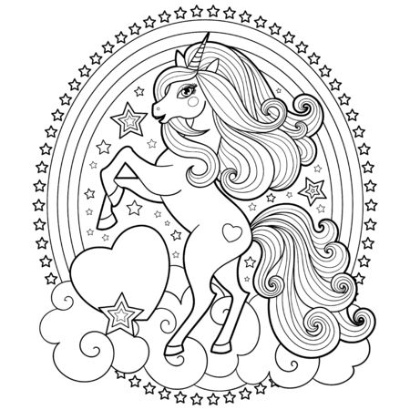 Cute unicorn on a cloud with a rainbow. Black and white image. Fantastic animal. For your design of prints, postings, books of layouts, tattoos, cards, stickers, badges and so on. Vector