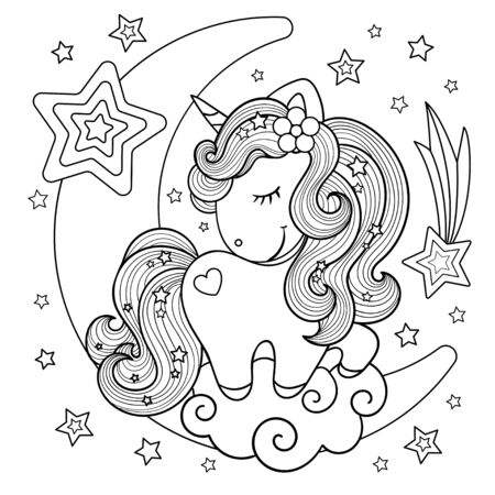 Cute, cartoon unicorn on the moon. Black and white. Drawn by hand. Children's drawing, for prints, posters, coloring books, stickers, cards and so on. Vector illustration