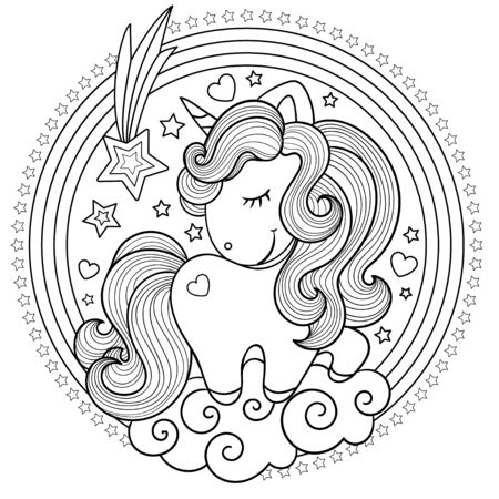 Cute, cartoon unicorn with a round rainbow. Black and white. Drawn by hand. Children's drawing, for prints, posters, coloring books, stickers, cards and so on. Vector illustration