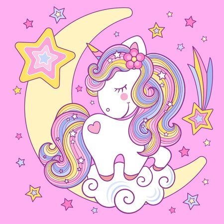 Cute white rainbow unicorn on the moon on a pink background. Children's vector illustration. For design prints. posters, cards, stickers, badges, etc.