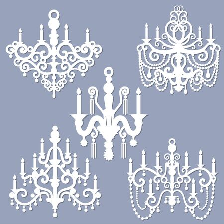 Laser cutting template chandeliers, candlesticks. Electric decor for New Year, Christmas, birthday invitation card. For the design of interior elements. For cutting from any material. Vector