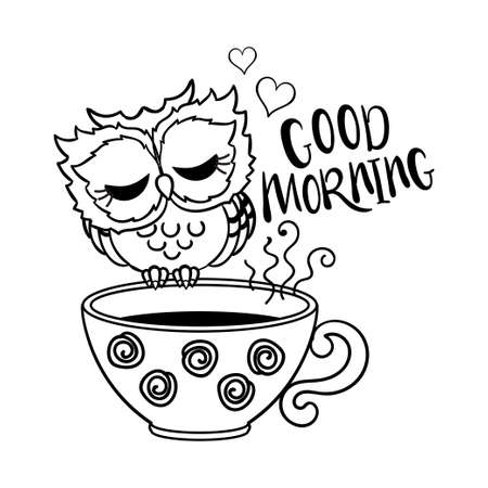 Cute, sleeping owl on a cup. Black and white. For the design of prints, posters, cards, badges, stickers and so on. Vector illustration. Vettoriali