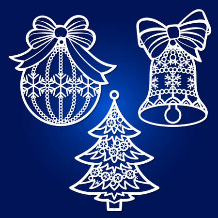 Template for laser cutting. A set of openwork Christmas tree decorations. Vector