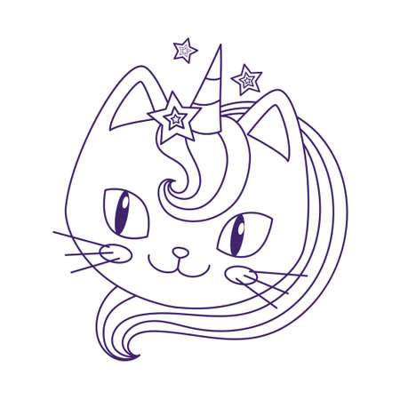 Cute kitten unicorn. Design for children. Black and white. Vector.