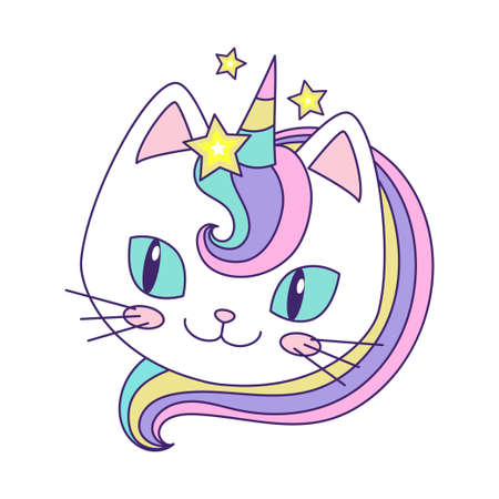 Head of a cute unicorn cat. Childrens illustration. Vector