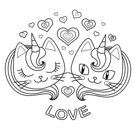 Black and white image. Heads of two unicorn cats in love. Vector 向量圖像