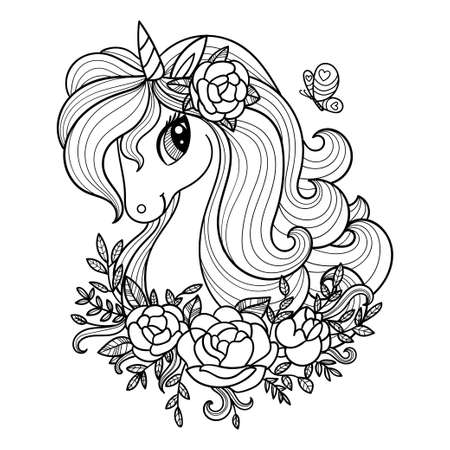 Unicorn head with long mane and flowers. Black-white linear drawing. For the design of coloring books, prints, posters, tattoos, postcards, stickers, etc. Vector