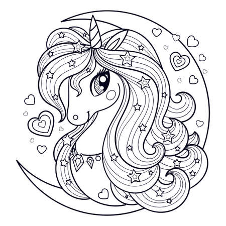 The head of a unicorn with a long mane against the background of the moon. Black-white linear drawing. For prints, posters, coloring books, postcards, stickers, tattoos. Vector Illusztráció