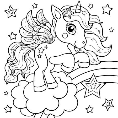 Cute unicorn on a rainbow with stars. Black and white children's illustration. For the design of coloring books, postcards, prints, posters, tattoos. stickers, etc. Vector Illusztráció
