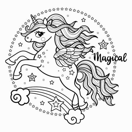 Cute, cartoon unicorn in a round composition. The inscription is Magic. Linear black and white drawing. For children's design, coloring books, prints, posters, postcards, stickers, tattoos, etc. Vector