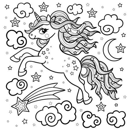 Cartoon cute unicorn among the stars. Black and white. Linear drawing. For the design of coloring books, prints. posters, tattoos. stickers, badges. Vector