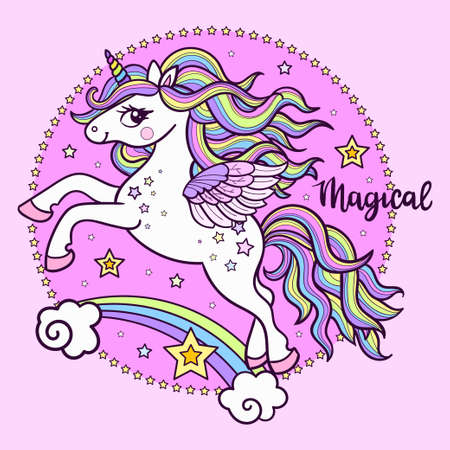 Beautiful white unicorn in a pink circle. The text is magical. For children's design prints. posters. postcards, stickers. icons and so on. Vector