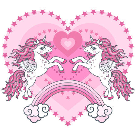 Two cute unicorns in love on the background of the rainbow and hearts. Fantastic animals in love. For the design of prints, posters, cards for Valentine's Day. Vector 向量圖像