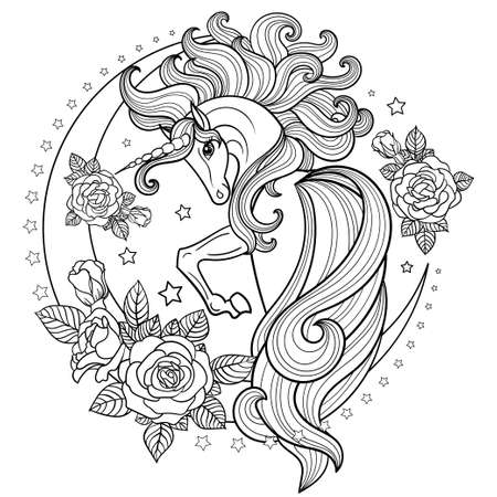 A beautiful, unicorn with a long mane and tail on the moon among the roses. Black and white image. For the design of coloring books, postcards, tattoos, stickers, etc. Vector