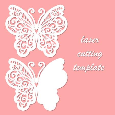 Butterfly. Template for laser cutting. Vector Векторная Иллюстрация