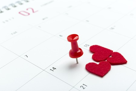 white pushpin: Valentines day on calendar with red pin.