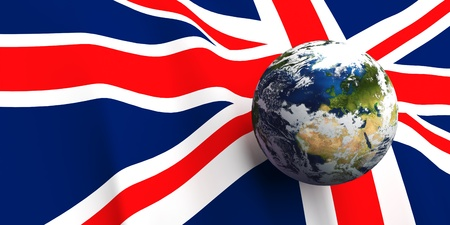 britannia: United Kingdom flag background, Earth in foreground showing country of England through cloud cover Stock Photo