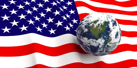 planisphere: American flag background, Earth in foreground showing country of The United States of America through cloud cover Stock Photo