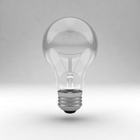 Single clear light bulb Stock Photo - 9624993