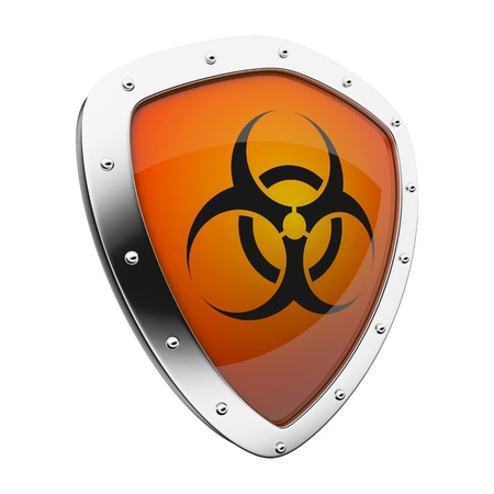 perilous: Silver shield with a biohazard symbol on an orange background.