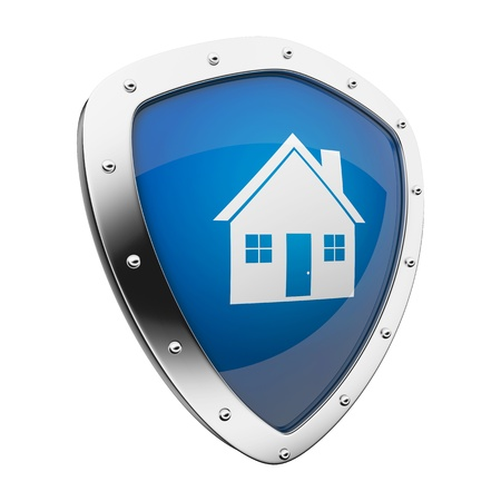 Silver shield with a homehouse symbol on blue background.