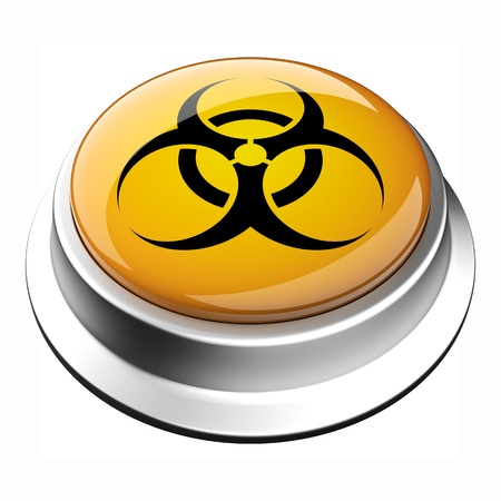 glossy 3D biohazard button in brushed metal frame Stockfoto