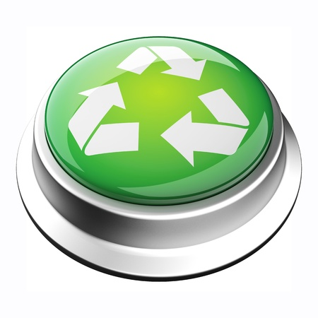 glossy 3D recycle button in brushed metal frame