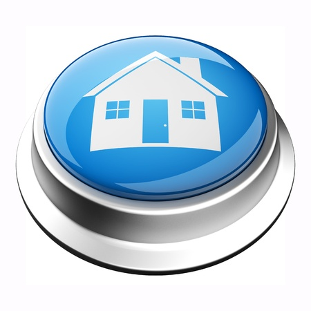 glossy 3D home button in brushed metal frame Stock Photo - 9625010