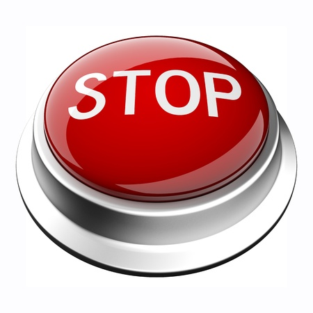 glossy 3D stop button in brushed metal frame Stock Photo - 9624956