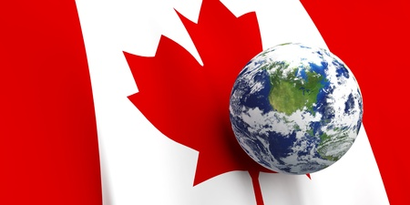 canada: Canadian flag background, Earth in foreground showing country of Canada through cloud cover Stock Photo