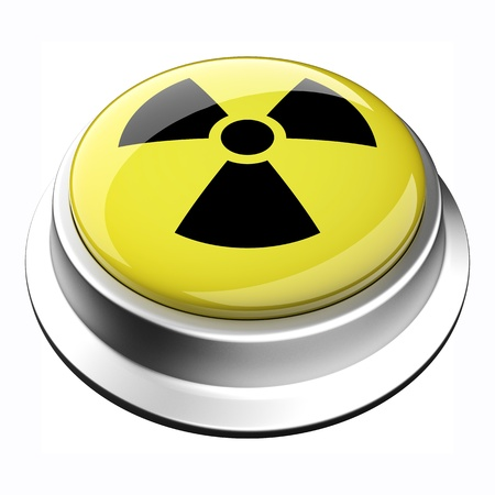A glossy 3D radiation button in brushed metal frame